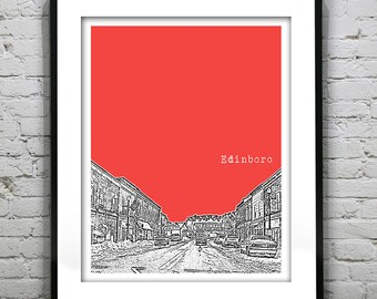 Edinboro Pennsylvania Skyline Poster Art Print Pennsylvania PA
