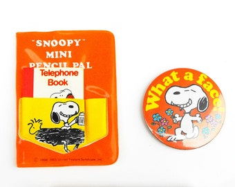 1958-1965 Snoopy Peanuts Set Vintage Charlie Brown Schulz United Feature Syndicate Woodstock Telephone Book Mini Pal Notebook Travel Mirror