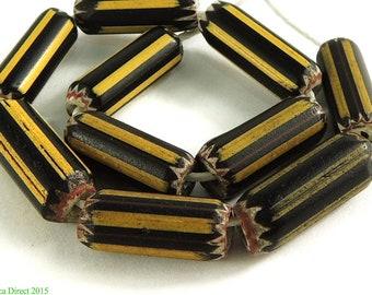 10 Yellow Jacket Chevron Venetian Trade Beads Africa 97990