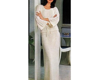 INSTANT DOWNLOAD PDF Vintage Crochet Pattern  Flared Sleeve Tunic Blouse and  Maxi Skirt Suit