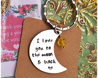 Love you to the moon and back keychain moon charm hand stamped wife gift mother gift moon necklace pendant valentines gift moon jewellery