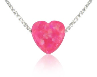 Pink Opal Heart Necklace on a Sterling Silver Chain • Waterproof • Very Sweet Design for the Princess in You