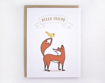 Hello Friend - Fox Card