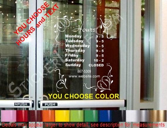 Store Hours Custom Window Decal Business Shop Storefront Door