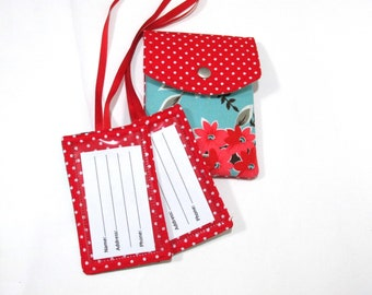 Handmade Passport cover with matching luggage tags - floral and white small dots on red - Ready to ship - Travel set - birthday - gift ideas