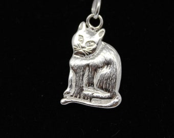 JEWELRY LIQUIDATION SALE Sterling Silver Cat Pendant/Charm