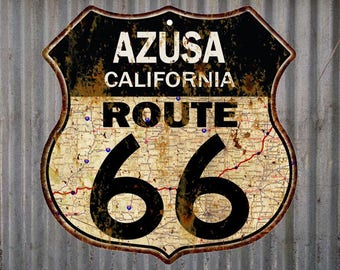 Azusa, California Route 66 Vintage Look Rustic 12X12 Metal Shield Sign S122086