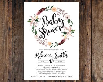 Fall or Winter Burgundy and Peach Flowers with Feathers 5x7 Baby Shower Invitation