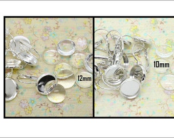 support base tray 10pcs earring sleeper silver toned metal + 10mm or 12mm round glass cabochon