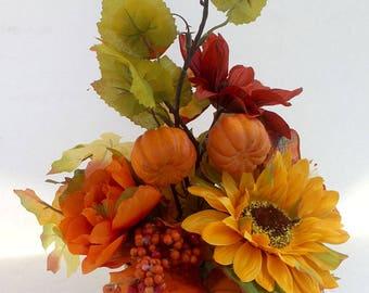 Small scarecrow arrangement, rustic fall décor, fall sunflower centerpiece arrangement, housewarming gift, Thanksgiving table decor