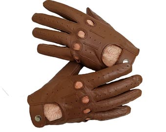 Saddle Brown genuine leather Driving gloves