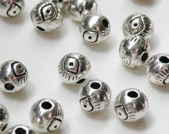 10 Evil Eye spacer beads round ball antique silver 6mm DB00408