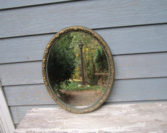 Vintage 1940s Ornate Beveled Oval Wood and Gesso Wall Hanging Mirror