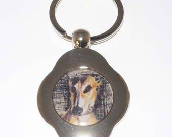 SueBero Drama Queen Greyhound Dog Chrome Keyring