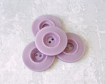 Swirlback Purple Buttons, 34mm 1-1/4 inch - Lilac Purple Sew-Through Coat Buttons - 5 VTG NOS Carved Pastel Purple Sewing Buttons PL204