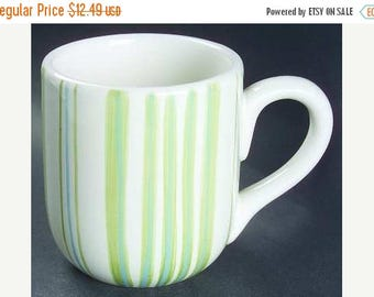 ON SALE Lot of 2 Mugs Noble Excellence PISTACHIO Vanilla Green & Blue Stripes Dinnerware  Excellent Condition