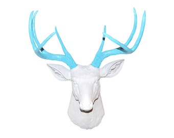 Deer Head Wall Mount in White and Robin's Egg Blue - Baby Nursery Decor - Near and Deer D0133