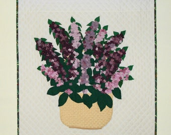 Fiber Art Quilt Basket of Lilacs art