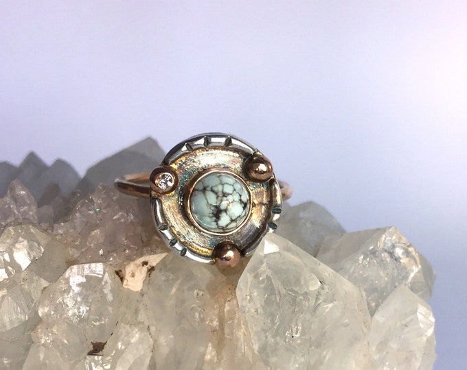turquoise and moissanite shadowbox ring