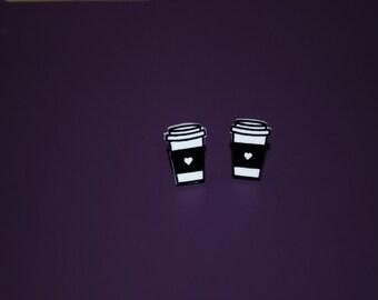 Coffee Earrings -- Coffee Studs, Coffee Lover Earrings, Coffee Cup Studs