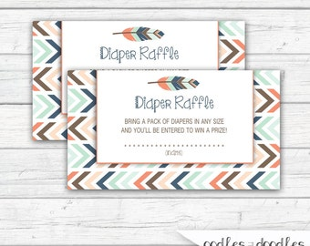 Tribal Baby Shower Diaper Raffle Ticket, Gender Neutral, Printable Diaper Raffle Tickets, Tribal, Boho, Printable, Instant Download
