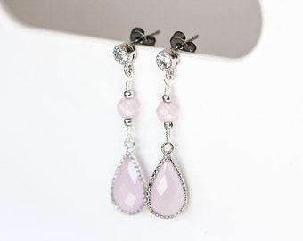 Blush pink crystal earrings, Silver nephrite earrings, Crystal dangle earrings, Bridesmaid gift earrings, Silver bridesmaid earrings 658