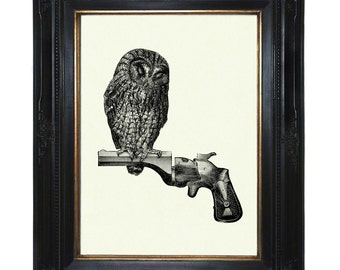 Owl Art Print sitting on Gun Revolver Branch Victorian Steampunk Art Print Woodland Animal Bird