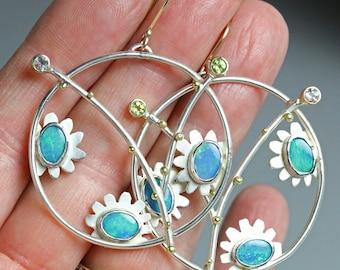Opal Flower and Twig Circle Earrings. Opal Earrings. Opal Doublets.