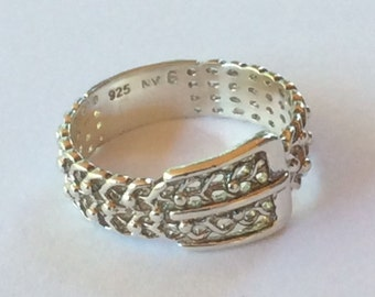 New Low Price !!! Sterling Silver Buckle Ring
