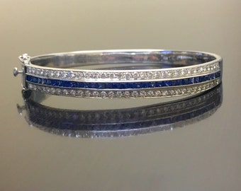 stone bracelet bangle sapphire tennis fashion blue for style light bangles summer women and diamond