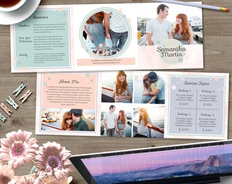5x5 Trifold Brochure Template with About Me and Session Rates - INSTANT DOWNLOAD - TB005