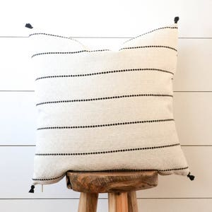 Black & White Striped Pillow, Tassel Pillow Cover, Black Stripe Decorative Pillow,