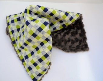 Bright Baby Lovey Blanket - Navy & Lime Green Checkerboard - Gray Rosebud Minky - Baby Boy Gift - Security Blanket - Ready to Ship