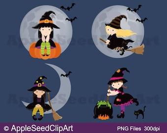 Halloween Digital Clip Art, Little Witches Digital Clip Art, Party Digital Clip Art,Instant Download