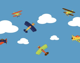 Nursery wall decals- Plane decals- Vinyl wall decal- Big set Plane and cloud set
