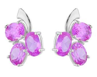 9 Ct Pink Sapphire Oval Shape Design Stud Earrings