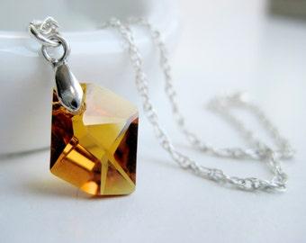 Golden topaz necklace, Swarovski crystal, sterling silver, asymmetrical necklace November, handmade