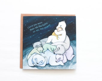 Australian Designed Cards, FlossyPArt, I Love You Card, Great for New Baby or Child, Blank Inside, Hand Drawn, Baby Shower, Blue Wall Art