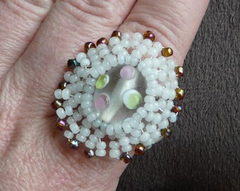 White Pearl lampwork cabochon ring