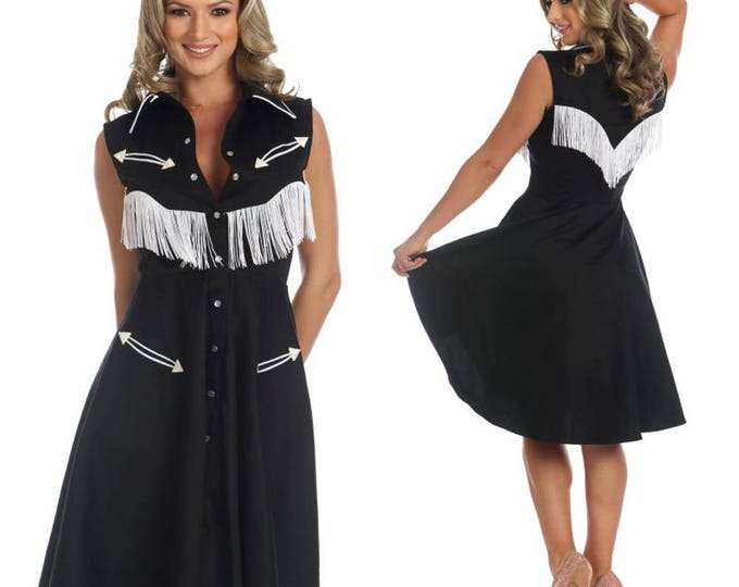 Georgia Western Swing Dress in Black and White