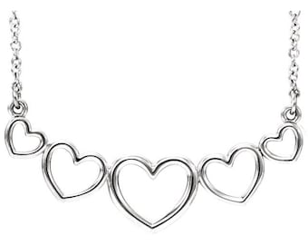 Sterling Silver Graduated Heart Necklace