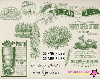 Vintage Seeds & Gardens Photoshop Brushes Set - 30 Brushes and PNG Files - Flowers and Vegetables Photoshop Elements Brushes Set