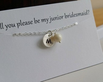 CHILD Size - Custom Initial and Pearl Sterling Silver Necklace, Bridesmaids Gifts, Flower Girl, Birthday Gift  - Weekly Deals