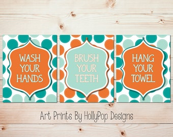 Childrens Art Prints Bathroom Manners Trio Print Set Wash Your Hands Brush  Your Teeth Hang Your