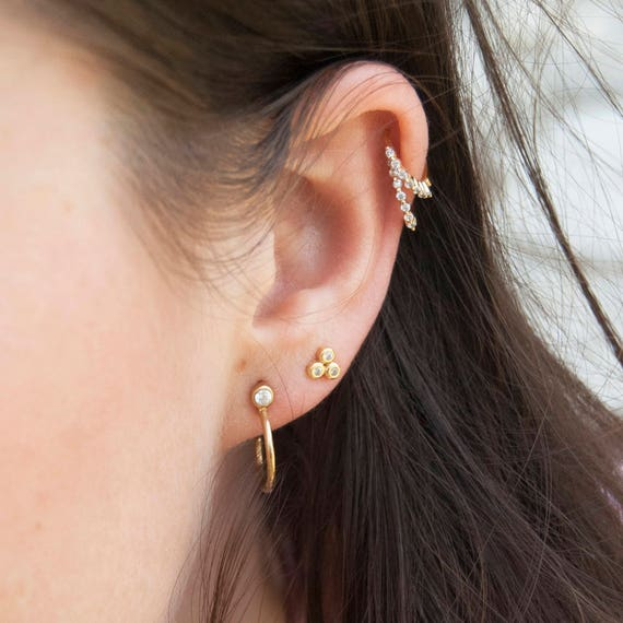 Small cz gold hoops tiny gold hoop earrings small hoop