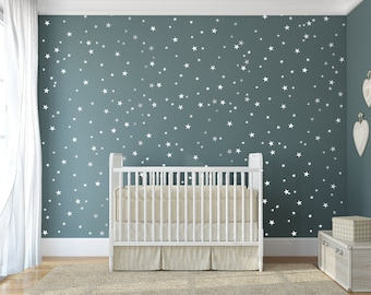 Vinyl star decals - 148 silver stars - star wall decal art sticker for baby room nursery - silver vinyl star wall decals - Star wars theme
