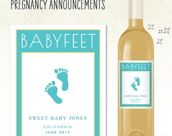 Custom Wine Label - BABYFEET Pregnancy Announcement! (Personalized)
