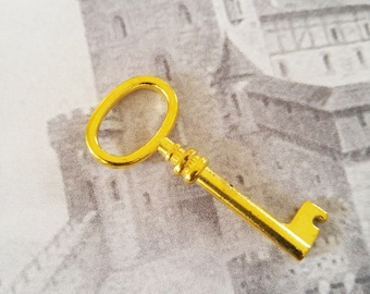 Skeleton Key Charms Key Pendants Gold Key Charms Steampunk Keys Gold Keys Gold Charms Barrel Keys 41mm