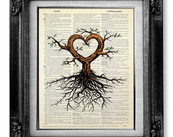 Tree Original Art Print Mixed Media Collage Unique ENGAGEMENT Gift Man Boyfriend Husband Of Life Painting Love Artwork