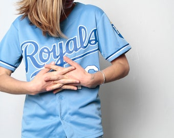 vintage 90s Kansas City ROYALS blue & white JERSEY baseball t-shirt